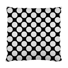 Circles2 Black Marble & White Linen (r) Standard Cushion Case (two Sides) by trendistuff
