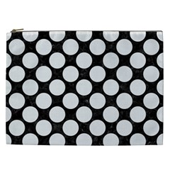 Circles2 Black Marble & White Linen (r) Cosmetic Bag (xxl)  by trendistuff