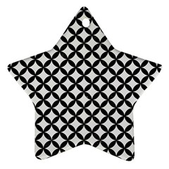Circles3 Black Marble & White Linen Star Ornament (two Sides) by trendistuff