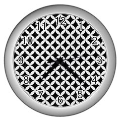 Circles3 Black Marble & White Linen (r) Wall Clocks (silver)  by trendistuff