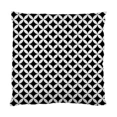 Circles3 Black Marble & White Linen (r) Standard Cushion Case (two Sides) by trendistuff