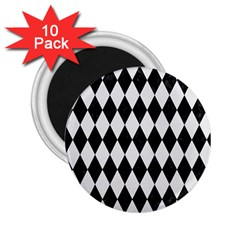 Diamond1 Black Marble & White Linen 2 25  Magnets (10 Pack)  by trendistuff