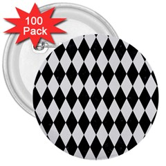 Diamond1 Black Marble & White Linen 3  Buttons (100 Pack)  by trendistuff
