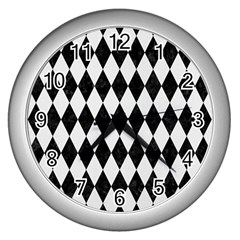Diamond1 Black Marble & White Linen Wall Clocks (silver)  by trendistuff