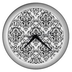 Damask1 Black Marble & White Linen Wall Clocks (silver)  by trendistuff
