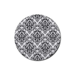 Damask1 Black Marble & White Linen Rubber Coaster (round)  by trendistuff