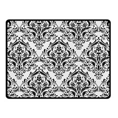 Damask1 Black Marble & White Linen Fleece Blanket (small) by trendistuff