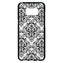 Damask1 Black Marble & White Linen Samsung Galaxy S8 Plus Black Seamless Case