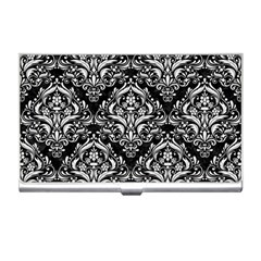 Damask1 Black Marble & White Linen (r) Business Card Holders by trendistuff