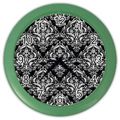 Damask1 Black Marble & White Linen (r) Color Wall Clocks by trendistuff