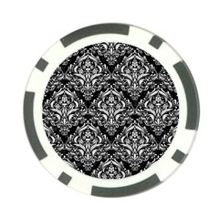 Damask1 Black Marble & White Linen (r) Poker Chip Card Guard (10 Pack) by trendistuff