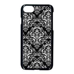 Damask1 Black Marble & White Linen (r) Apple Iphone 8 Seamless Case (black) by trendistuff