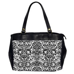 Damask2 Black Marble & White Linen Office Handbags (2 Sides)  by trendistuff