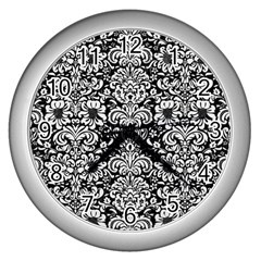 Damask2 Black Marble & White Linen (r) Wall Clocks (silver)  by trendistuff