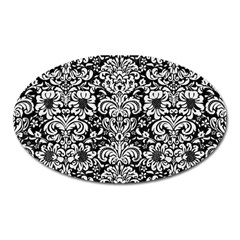 Damask2 Black Marble & White Linen (r) Oval Magnet by trendistuff