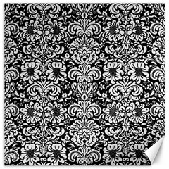 Damask2 Black Marble & White Linen (r) Canvas 20  X 20   by trendistuff