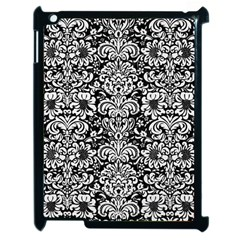 Damask2 Black Marble & White Linen (r) Apple Ipad 2 Case (black) by trendistuff