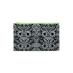 Damask2 Black Marble & White Linen (r) Cosmetic Bag (xs) by trendistuff