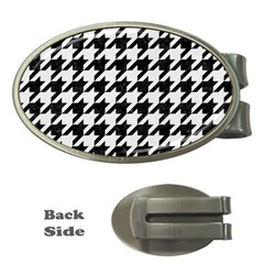 Houndstooth1 Black Marble & White Linen Money Clips (oval)  by trendistuff
