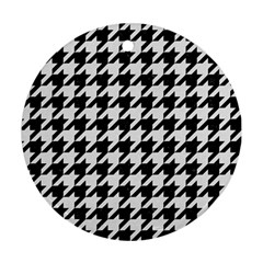 Houndstooth1 Black Marble & White Linen Round Ornament (two Sides) by trendistuff