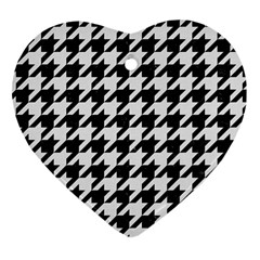 Houndstooth1 Black Marble & White Linen Heart Ornament (two Sides) by trendistuff