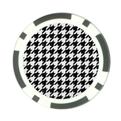 Houndstooth1 Black Marble & White Linen Poker Chip Card Guard by trendistuff