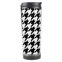 Houndstooth1 Black Marble & White Linen Travel Tumbler by trendistuff
