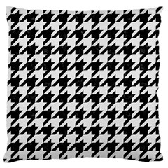 Houndstooth1 Black Marble & White Linen Large Flano Cushion Case (one Side) by trendistuff