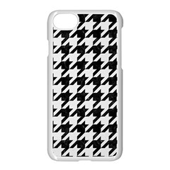Houndstooth1 Black Marble & White Linen Apple Iphone 8 Seamless Case (white) by trendistuff
