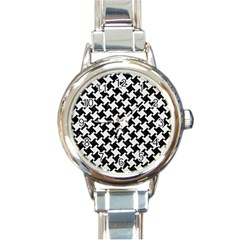 Houndstooth2 Black Marble & White Linen Round Italian Charm Watch by trendistuff