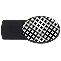 Houndstooth2 Black Marble & White Linen Usb Flash Drive Oval (2 Gb) by trendistuff