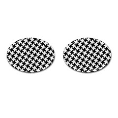 Houndstooth2 Black Marble & White Linen Cufflinks (oval) by trendistuff