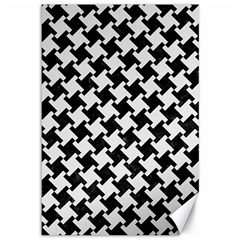 Houndstooth2 Black Marble & White Linen Canvas 12  X 18   by trendistuff