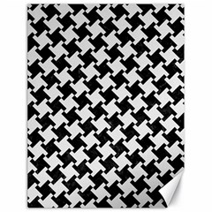 Houndstooth2 Black Marble & White Linen Canvas 18  X 24   by trendistuff