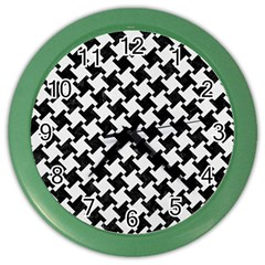 Houndstooth2 Black Marble & White Linen Color Wall Clocks by trendistuff
