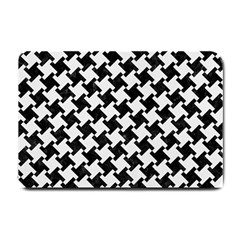 Houndstooth2 Black Marble & White Linen Small Doormat  by trendistuff