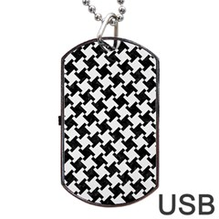 Houndstooth2 Black Marble & White Linen Dog Tag Usb Flash (two Sides) by trendistuff