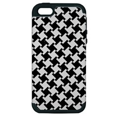 Houndstooth2 Black Marble & White Linen Apple Iphone 5 Hardshell Case (pc+silicone) by trendistuff