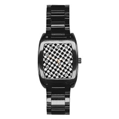 Houndstooth2 Black Marble & White Linen Stainless Steel Barrel Watch by trendistuff