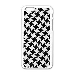 Houndstooth2 Black Marble & White Linen Apple Iphone 6/6s White Enamel Case by trendistuff