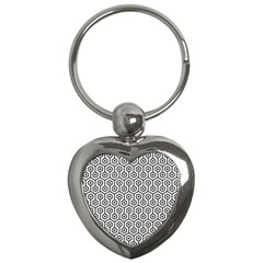Hexagon1 Black Marble & White Linen Key Chains (heart)  by trendistuff