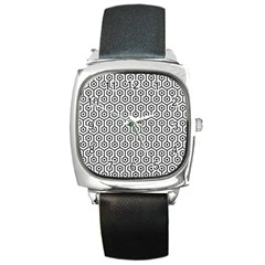 Hexagon1 Black Marble & White Linen Square Metal Watch by trendistuff