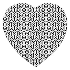 Hexagon1 Black Marble & White Linen Jigsaw Puzzle (heart) by trendistuff