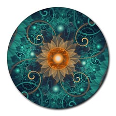 Beautiful Tangerine Orange And Teal Lotus Fractals Round Mousepads by jayaprime