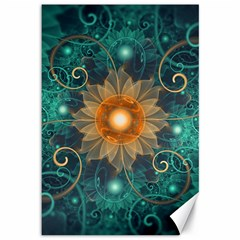 Beautiful Tangerine Orange And Teal Lotus Fractals Canvas 12  X 18   by jayaprime