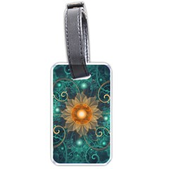 Beautiful Tangerine Orange And Teal Lotus Fractals Luggage Tags (one Side)  by jayaprime