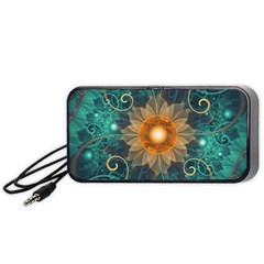 Beautiful Tangerine Orange And Teal Lotus Fractals Portable Speaker by jayaprime