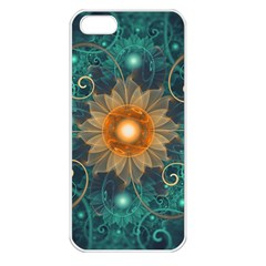 Beautiful Tangerine Orange And Teal Lotus Fractals Apple Iphone 5 Seamless Case (white) by jayaprime