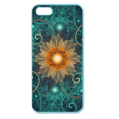 Beautiful Tangerine Orange And Teal Lotus Fractals Apple Seamless Iphone 5 Case (color) by jayaprime