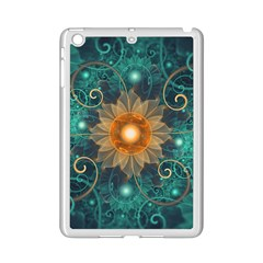 Beautiful Tangerine Orange And Teal Lotus Fractals Ipad Mini 2 Enamel Coated Cases by jayaprime